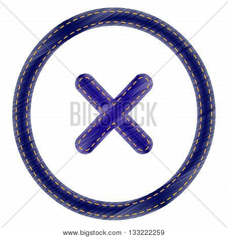Cross sign illustration. Jeans style icon on white background.
