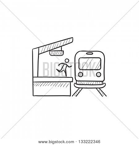 Man running along train station platform vector sketch icon isolated on background. Hand drawn man running along train station platform icon. Latecomer man sketch icon for infographic, website or app.