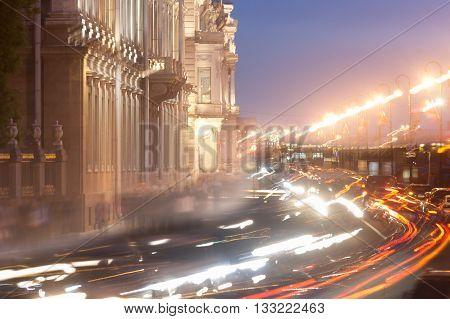 transport jam transport jam on city roads St. Petersburg in night