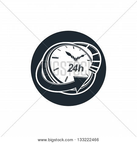 Graphic web vector 24 hours timer around-the-clock pictogram. Business time management illustration.