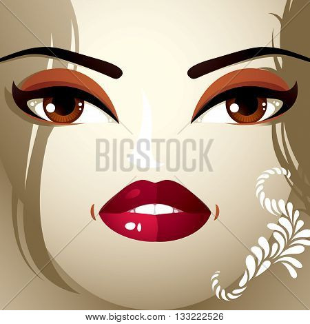 Face Makeup. Lips, Eyes And Eyebrows Of An Attractive Woman Displaying Surprise And Shock. Fashionab