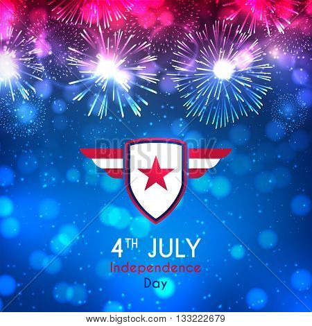 Happy Independence Day backdrop. Color banner with fireworks and lights on the blue background. American Independence Day celebration banner with effect bokeh. Vector illustration.