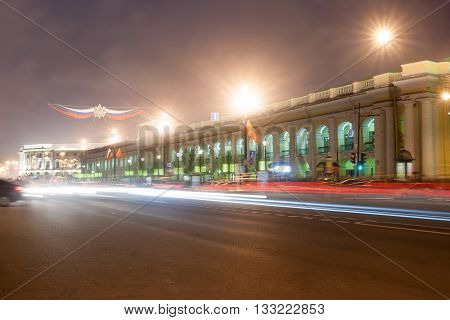 Nevsky Prospekt In St. Petersburg At Night Illumination With Blured Traffic On Road