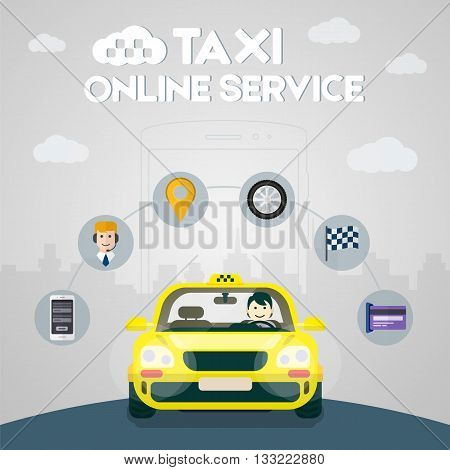 Flat yellow taxi with a driver traveling on the road. Taxi service. Taxi online infographic icons