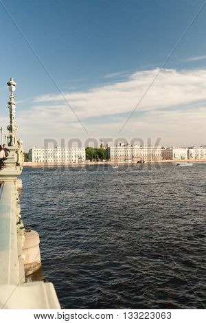 View Of The Embankment The City Sankt-peterburg In Summer Day