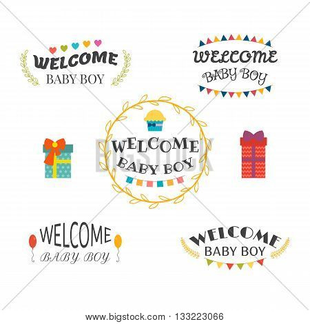 Welcome Baby Boy. Baby Shower Design. Baby Boy Arrival Postcards. Set Of Labels, Emblems, Stickers O