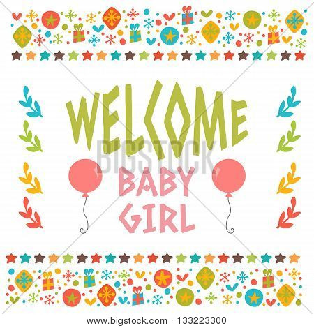 Welcome Baby Girl Shower Card. Arrival Card. Cute Postcard With Decorative Elements
