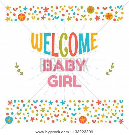Welcome Baby Girl Shower Card. Arrival Card. Cute Postcard. Announcement Card