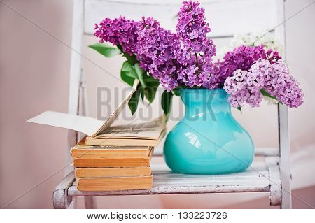 Comprehensive book, on the pages of purple lilac