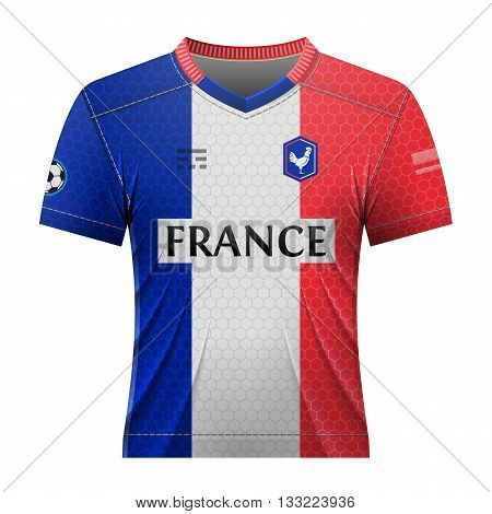 soccer shirt in colors of french flag. national jersey for football team of france. qualitative vector illustration about soccer, sport game, championship, national team, gameplay, etc