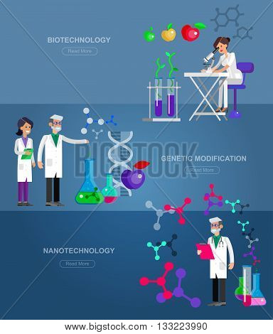 Detailed character men woman scientis, laboratory technician scientis looking through a microscope, Biotechnology scientis, genetic engineering scientis, nanotechnology and genetic modification