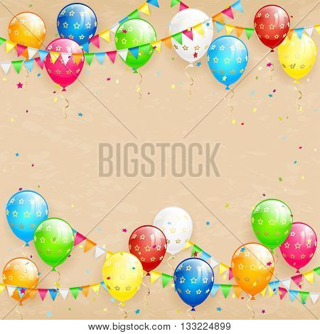 Birthday background, the inscription Happy Birthday with flying colorful balloons, multicolored pennants and confetti on beige grunge background, Happy Birthday theme, illustration.