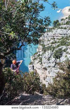 Brave rock-climber in a Verdon Gorge, Provence, France