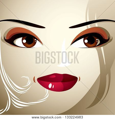 Emotional Expression On The Face Of A Cute Girl. Beautiful Happy Smiling Woman With A Modern Makeup