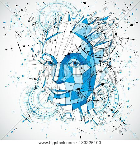 Communication technology 3d vector background made with engineering draft elements and mechanism parts science subject. Low poly illustration of human head full of thoughts intelligence allegory.