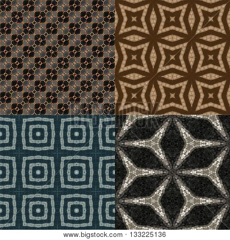 Abstract seamless patterns reminiscent of an old mosaic tiles