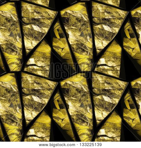 Abstract seamless pattern of gold relief striped stones and crystals. Gold polygonal sharp stones with crystals on a black background