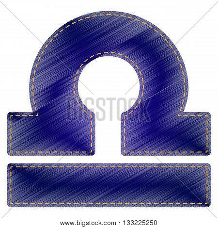 Libra sign illustration. Jeans style icon on white background.