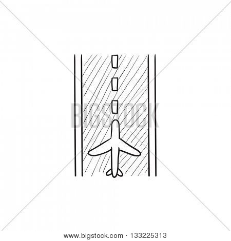 Airport runway vector sketch icon isolated on background. Hand drawn Airport runway icon. Airport runway sketch icon for infographic, website or app.