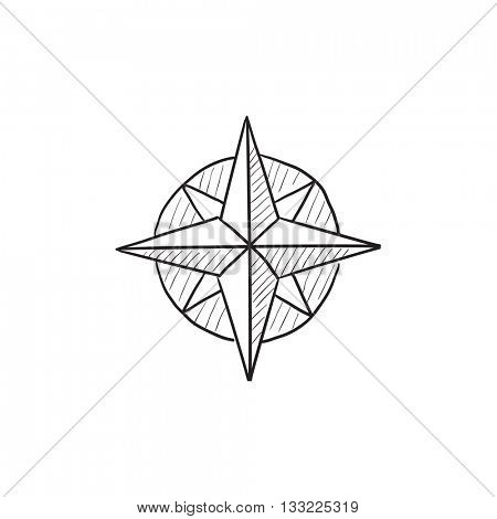 Compass wind rose vector sketch icon isolated on background. Hand drawn Compass wind rose icon. Compass wind rose sketch icon for infographic, website or app.