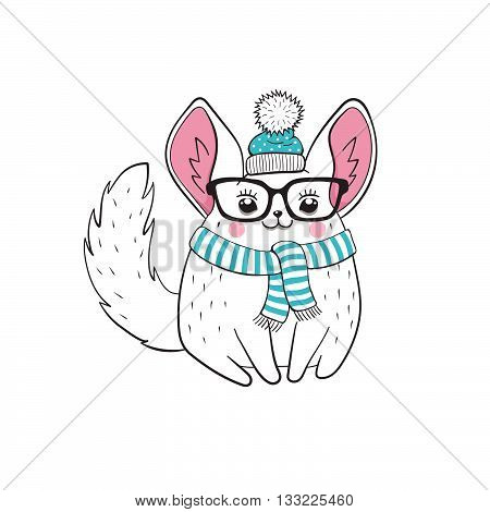 Hipster poster with cute cartoon chinchilla in glasses and scarf. Illustration of cartoon hipster animal isolated on white background.