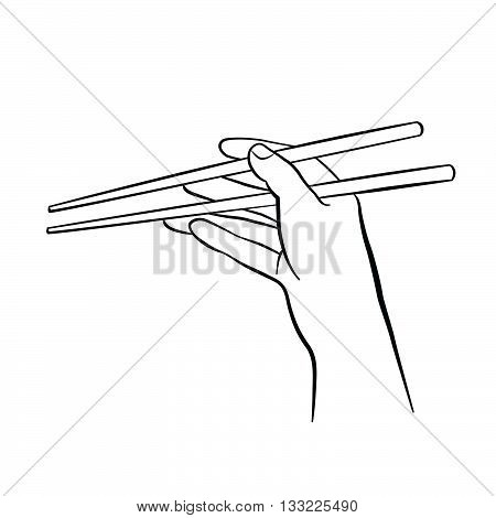 Hand Holding Chinese Chopsticks