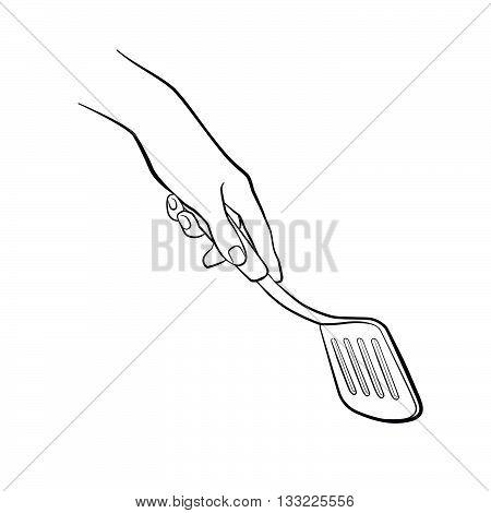 Hand Holding Spatula