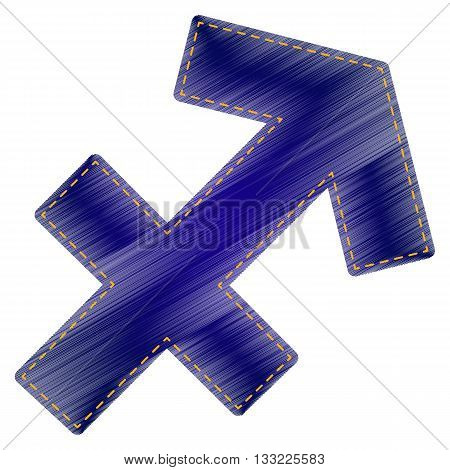 Sagittarius sign illustration. Jeans style icon on white background.
