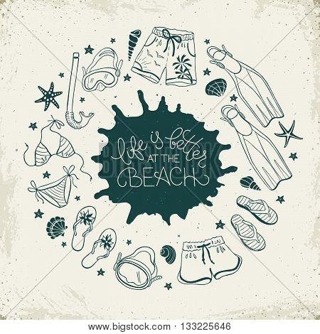 Beach Accessories Illustration.