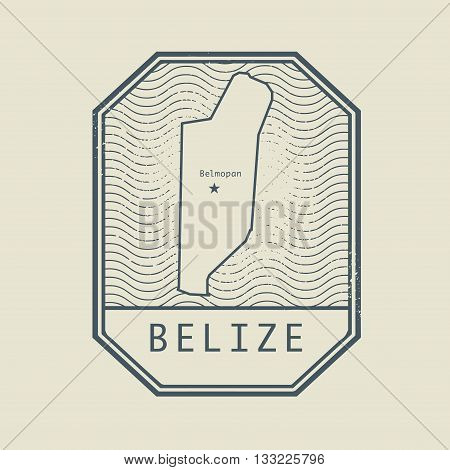 Stamp with the name and map of Belize, vector illustration
