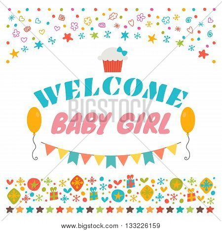 Welcome Baby Girl. Announcement Card. Baby Shower Greeting Card. Baby Girl Shower Card. Baby Girl Ar