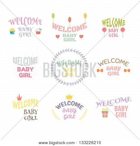 Welcome Baby Girl. Baby Girl Arrival Postcards. Baby Shower Card Design