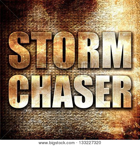 storm chaser, 3D rendering, metal text on rust background