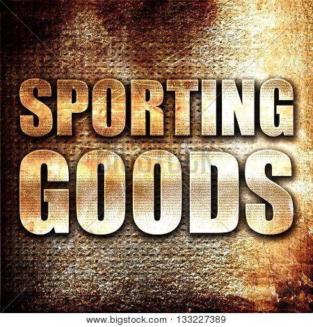 sporting goods, 3D rendering, metal text on rust background