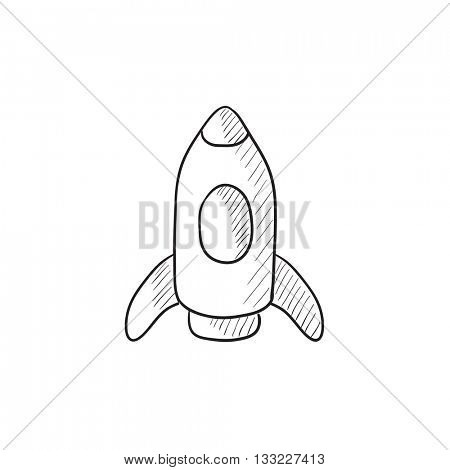 Rocket vector sketch icon isolated on background. Hand drawn Rocket icon. Rocket sketch icon for infographic, website or app.
