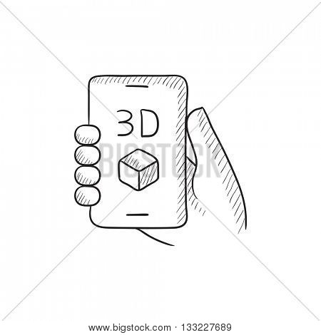 Smartphone with three D box vector sketch icon isolated on background. Hand drawn Smartphone with three D box icon. Smartphone with three D box sketch icon for infographic, website or app.