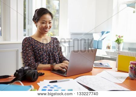 Photographer Working At Laptop In Home Office