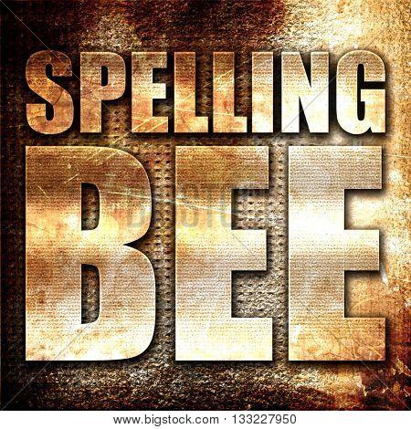 spelling bee, 3D rendering, metal text on rust background