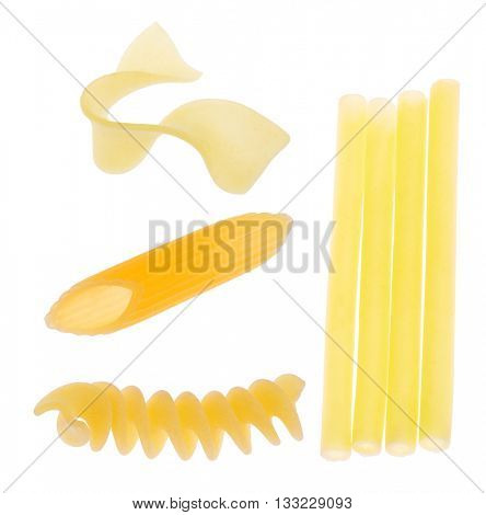 yellow pieces of macaroni collection isolated on white background