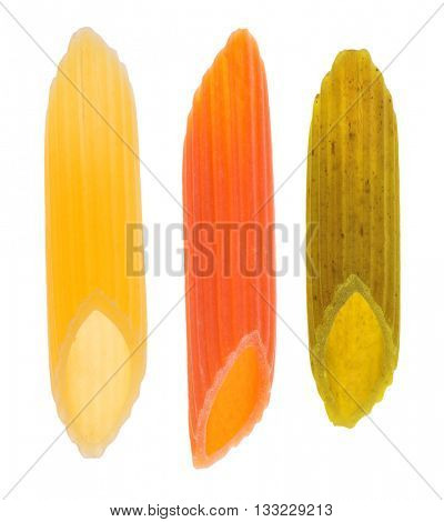 pieces of macaroni isolated on white background