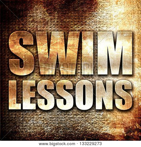 swim lessons, 3D rendering, metal text on rust background
