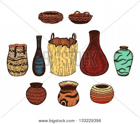 Ethnic hand drawn vector line colored set of wattled cookware. Ink