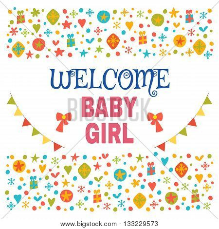 Welcome Baby Girl. Baby Girl Shower Card. Baby Girl Arrival Postcard. Baby Shower Greeting Card