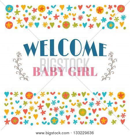 Welcome Baby Girl. Baby Shower Greeting Card. Baby Girl Shower Card. Baby Girl Arrival Postcard