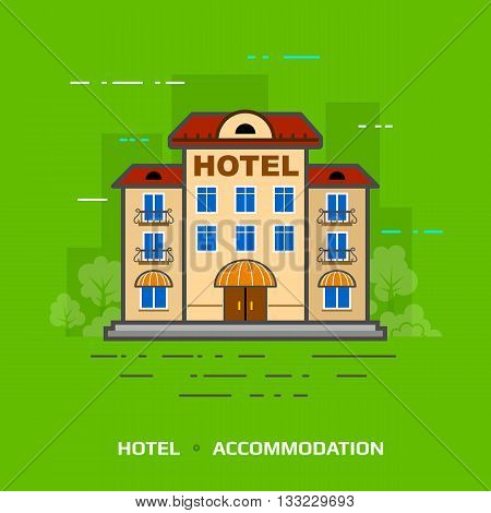 Flat illustration of hotel against green background. Flat design of hotel building, front view.