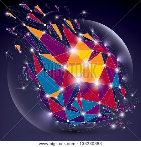3d vector digital wireframe object broken into different particles geometric polygonal structure with lines mesh and light effect. Low poly shattered glow shape sparkle lattice form.