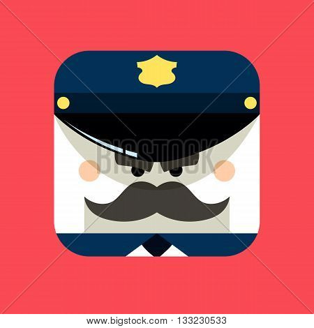 Police officer avatar illustration. Trendy policeman squared icon with shadows in flat style. Colorful and funny uncommon vector.