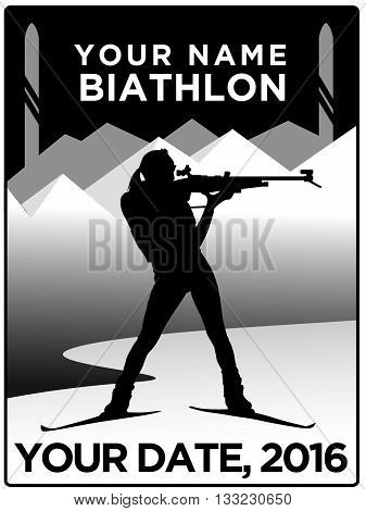 Poster of woman biathlon athlete target shooting in skis on lake with mountain and lake background