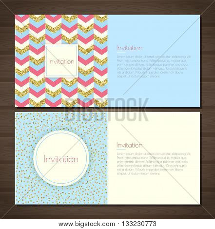 Invitation card with gold glitter chevron background back and front. Invitation card with gold glittering confetti on blue background. Vector illustration