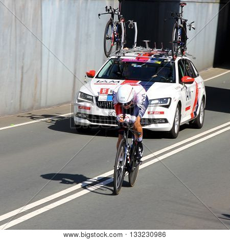APELDOORN, NETHERLANDS-MAY 6 2016: Larry Warbasse of pro cycling team IAM Cycling during the Giro d'Italia prologue time trial.